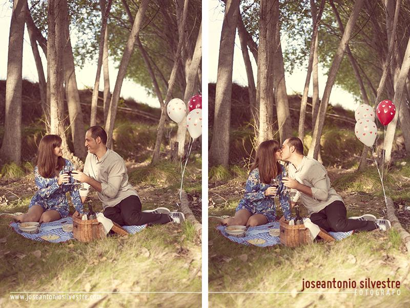 Fotos de preboda con picnic en el campo